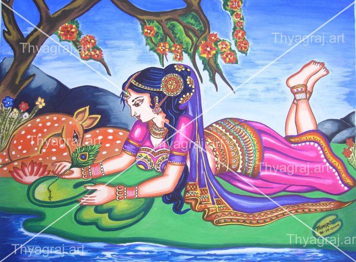 Treditional indian girl - Thyagaraj Art