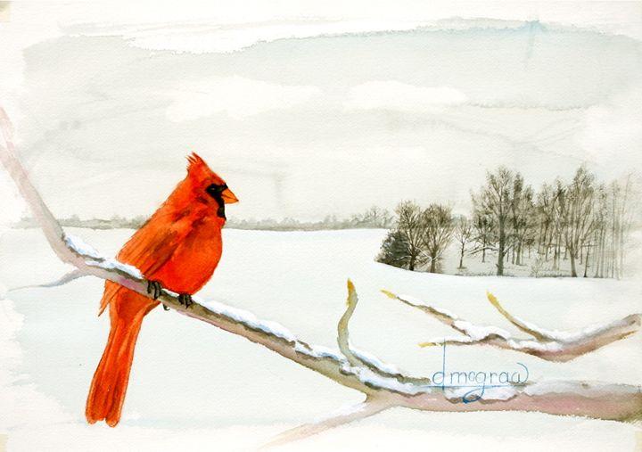 Red Bird Winter - McGraw original art watercolors/oils