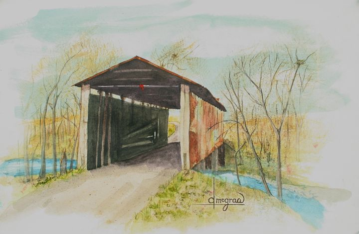 Covered Bridge - McGraw original art watercolors/oils