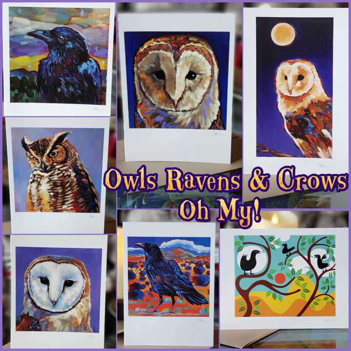 OWLS, RAVENS & CROWS—OH, MY! 7 Cards - MARNA SCHINDLER
