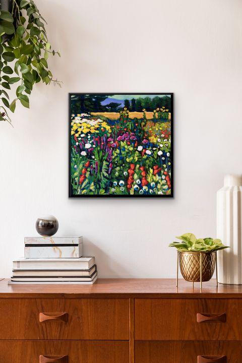 """""""Summer Garden"""" 20x20"""" framed print - MARNA SCHINDLER"""
