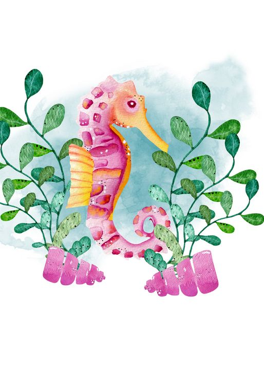 Pink and gold watercolor seahorse - Andreea Eremia Design