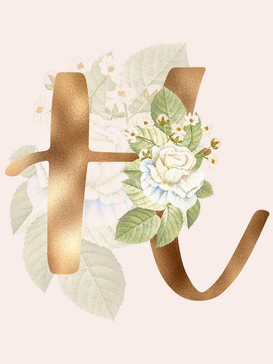 Gold Vintage Rose H Letter - Andreea Eremia Design