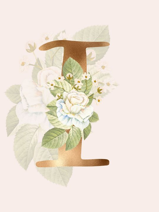 Gold Vintage Rose I Letter - Andreea Eremia Design