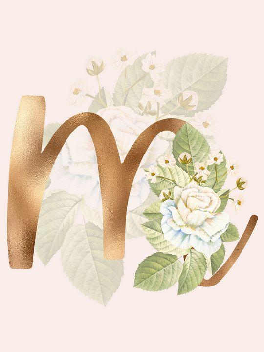 Gold Vintage Rose M Letter - Andreea Eremia Design