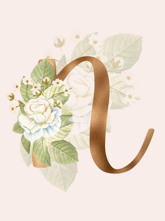 Gold Vintage Rose N Letter - Andreea Eremia Design