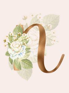 Gold Vintage Rose N Letter