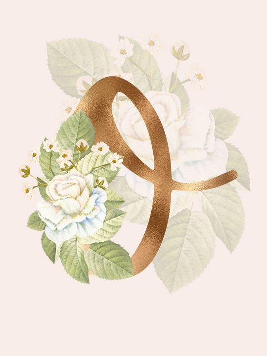 Gold Vintage Rose O Letter - Andreea Eremia Design