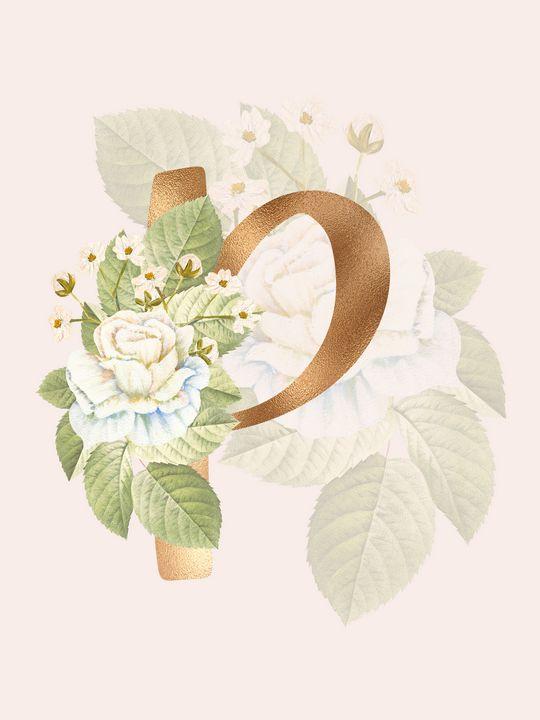 Gold Vintage Rose P Letter - Andreea Eremia Design