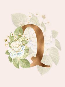 Gold Vintage Rose Q Letter