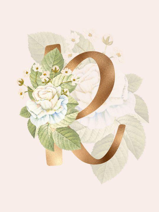 Gold Vintage Rose R Letter - Andreea Eremia Design