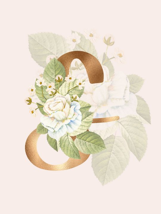 Gold Vintage Rose S Letter - Andreea Eremia Design