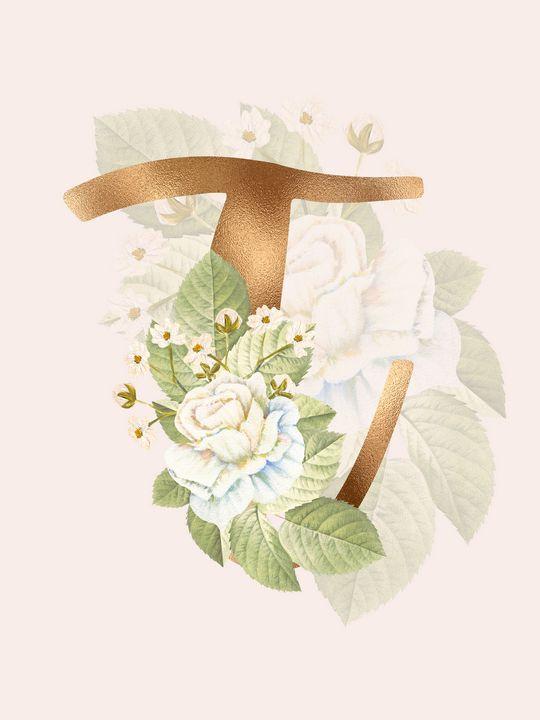 Gold Vintage Rose T Letter - Andreea Eremia Design