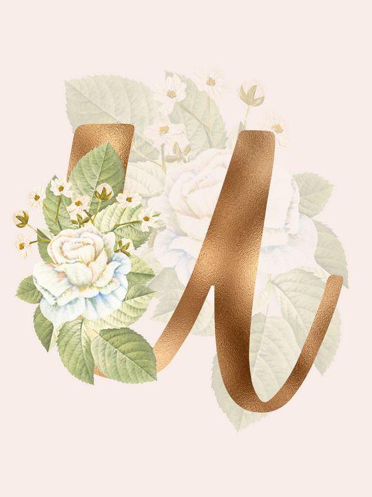 Gold Vintage Rose U Letter - Andreea Eremia Design