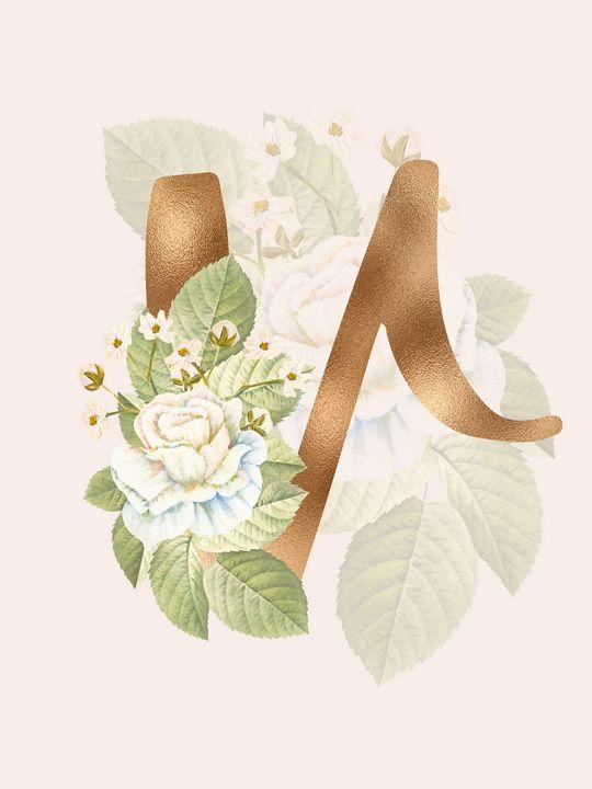 Gold Vintage Rose V Letter - Andreea Eremia Design