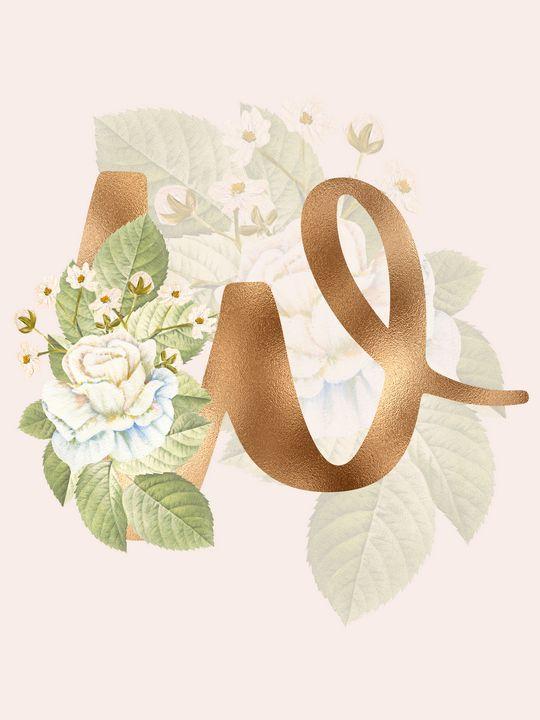 Gold Vintage Rose W Letter - Andreea Eremia Design