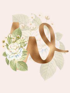 Gold Vintage Rose W Letter