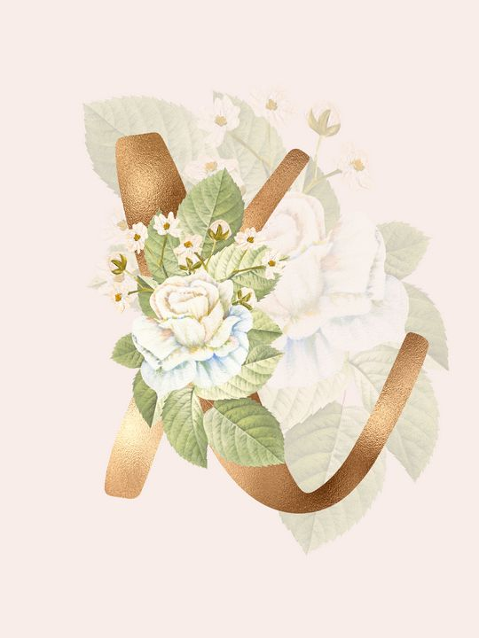 Gold Vintage Rose X Letter - Andreea Eremia Design