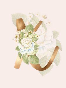 Gold Vintage Rose X Letter