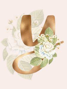 Gold Vintage Rose Y Letter