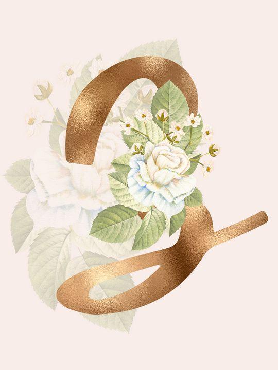 Gold Vintage Rose Z Letter - Andreea Eremia Design