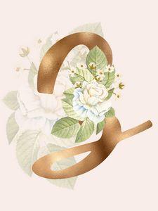 Gold Vintage Rose Z Letter
