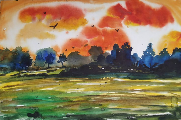 This landscape painted on the handma - vibrant paintings