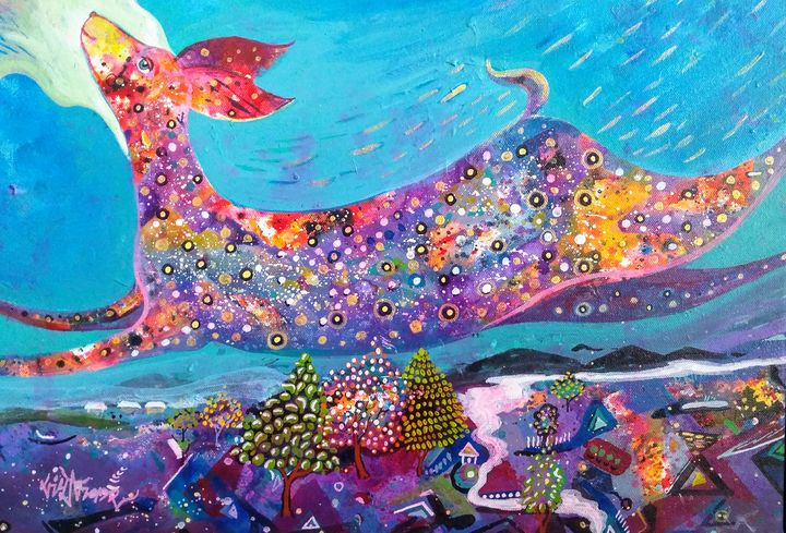 Glory of nature with deer - vibrant paintings