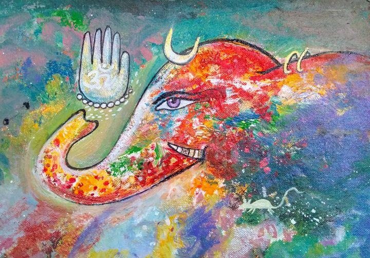 sri ganesha - vibrant paintings