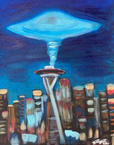 Ufo ove Seattle - Anthony Galeano Art