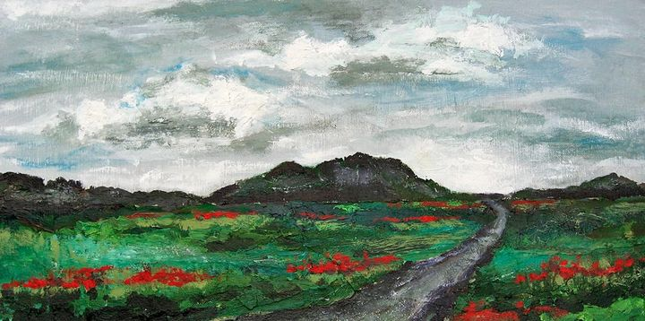 Red Flowers Along a Road - Audriana Vandenoever
