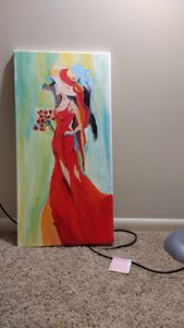 Lady in red on 12*24 canvas