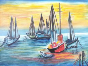 Ships in The Sea-Oil on Canvas