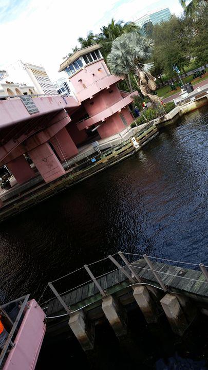East View of Andrews Avenue Bridge - South Beach, Miami Art