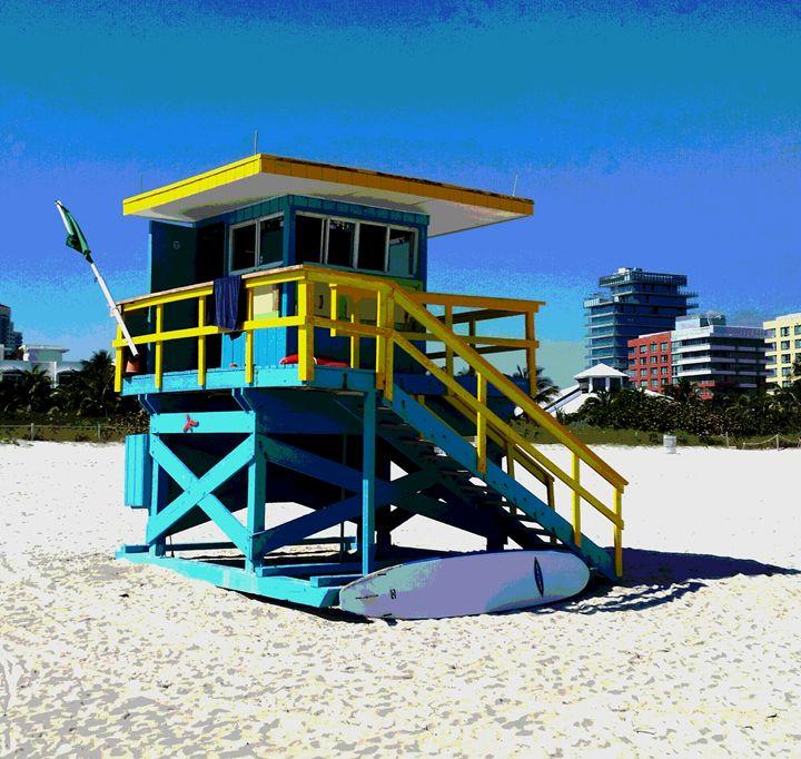 Lifeguard Shack  (front view) - South Beach, Miami Art