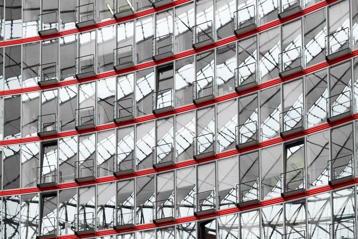 glass facade - modern architecture, - hanoh iki