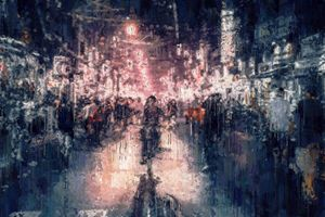 Saigon street at night impressionism