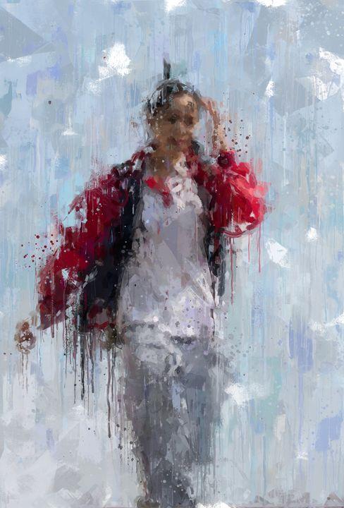 girl portrait, mixed media - hanoh iki