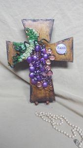 Grape Beaded Cross