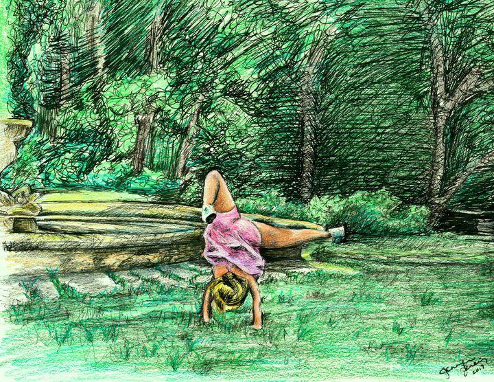 Girl Doing Cartwheel in the Park - Birdsandmulberries