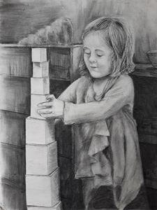 Girl Straightening her Pink Tower