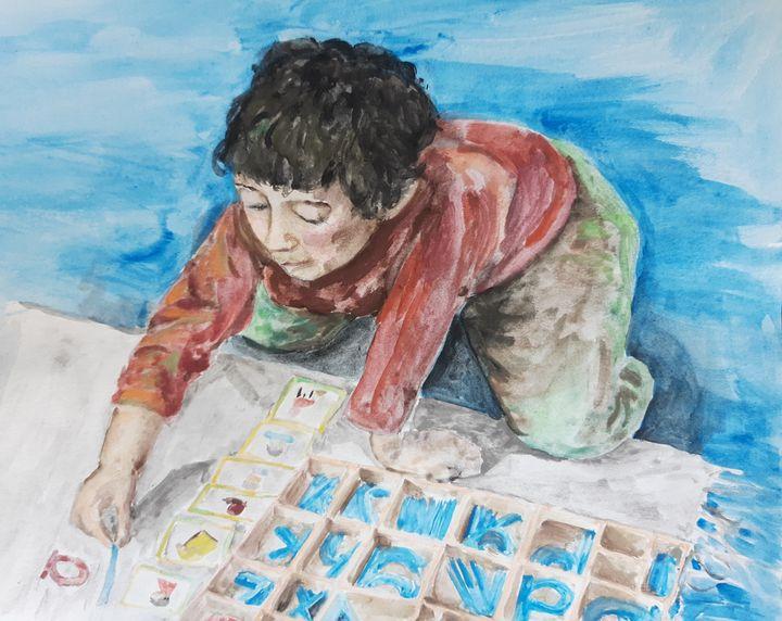 Boy with Montessori's Alphabet - Birdsandmulberries