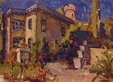 Original oil painting, cityscape onr