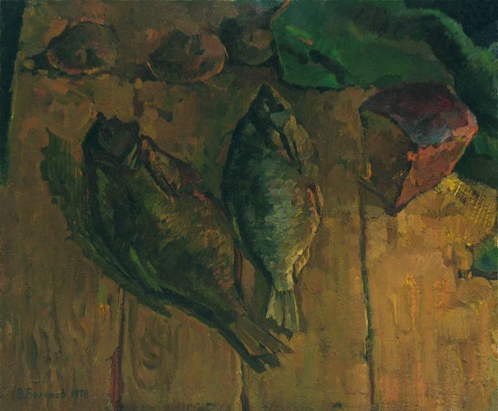 Still life with fish - Vasily Belikov's Art