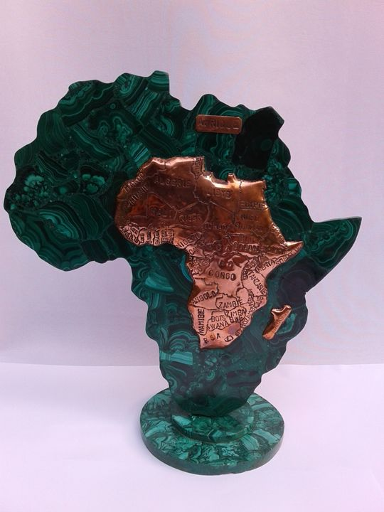 Africa in Copper with Malachite AF01 - Libanga Art by GPG