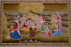 Lord Krishna with devotees
