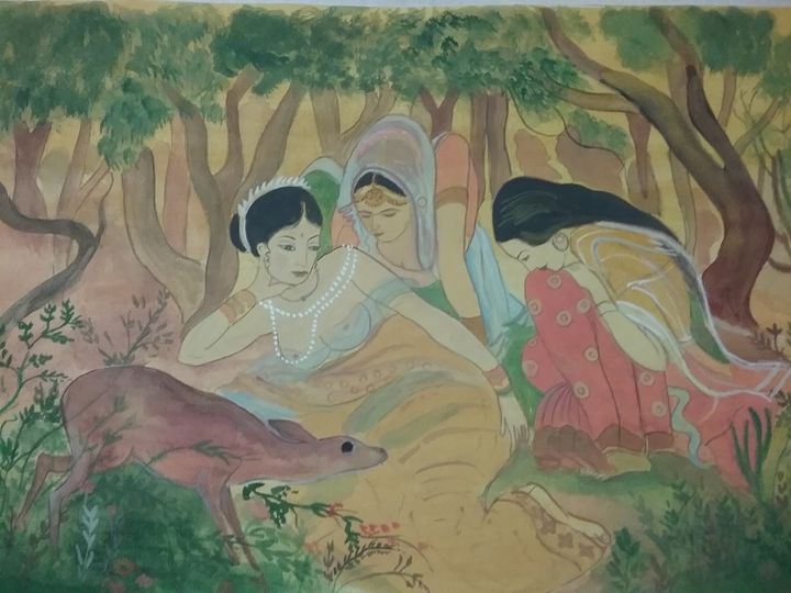 Shakuntala in woods - MITHILA ARTS