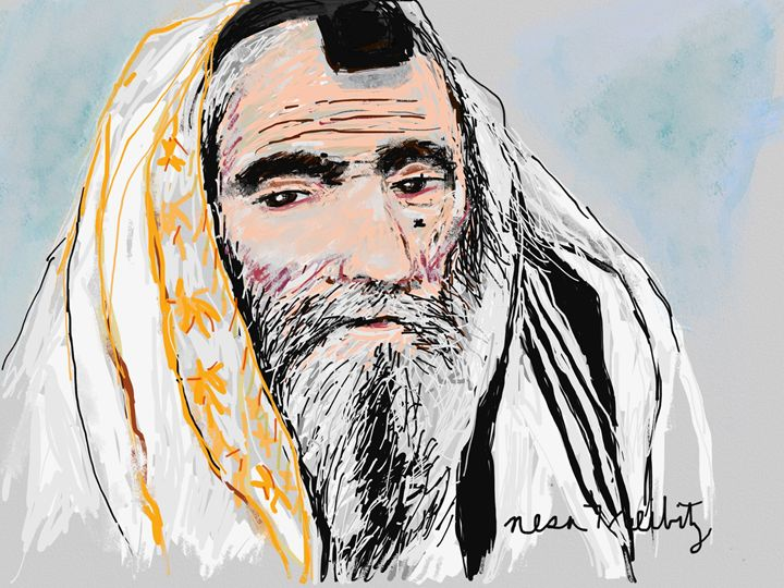 Rabbi in Thought - Nesa's Art