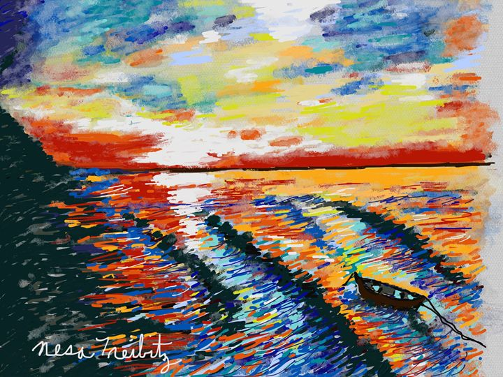 Long Beach Sunset - Nesa's Art