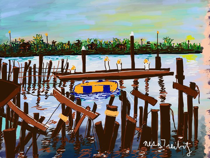 Blue and Yellow Raft - Nesa's Art